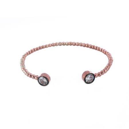 Ασημένιο Γυναικείο Βραχιόλι Χεριού Ροζ Χρυσό 925 Ζιργκόν Χειροπέδα