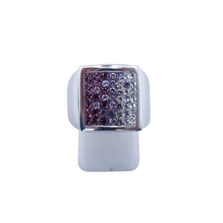 Ασημένιο Δαχτυλίδι με Ζιργκόν 925 Λευκές Μωβ Πέτρες Γυναικείο