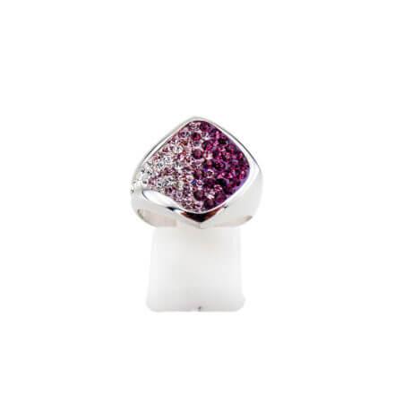 Ασημένιο Δαχτυλίδι από Ασήμι 925 με Ζιργκόν Λευκές Μωβ Ροζ Πέτρες Γυναικείο