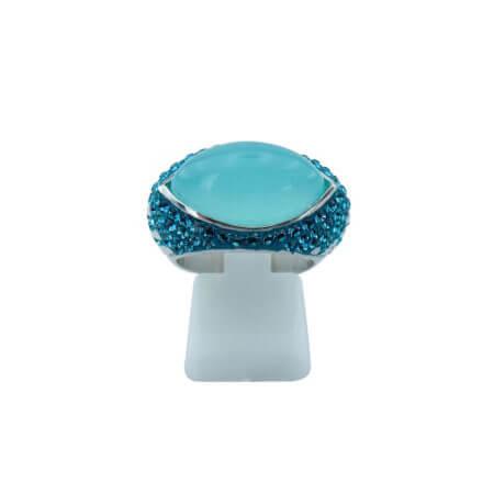 Ασημένιο Δαχτυλίδι 925 Τιρκουάζ Πέτρα Καμπουσόν Λευκές Πέτρες Ζιργκόν Γυναικείο