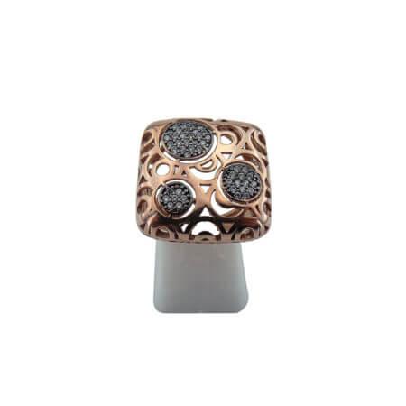 Ασημένιο Δαχτυλίδι 925 Ροζ Επιχρύσωμα Ζιργκόν Λευκές Πέτρες Γυναικείο