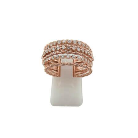 Δαχτυλίδι Ροζ Χρυσό Γυναικείο Λευκές Πέτρες Ζιργκόν Ασημένιο 925