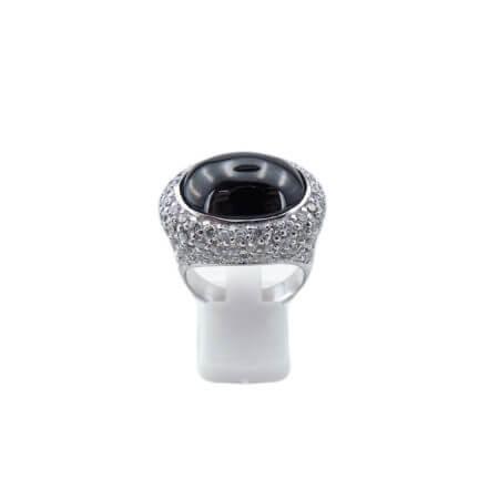 Ασημί Δαχτυλίδι Ζιργκόν Μαύρες Λευκές Πέτρες Ασημένιο 925 Γυναικείο