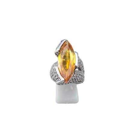 925 Ασημένιο Δαχτυλίδι Ζιργκόν Λευκές Πορτοκαλί Πέτρες Γυναικείο Ασημί