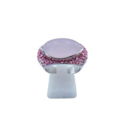 Ασημένιο 925 Γυναικείο Δαχτυλίδι Με Ροζ Πέτρα Καμπουσόν Ζιργκόν