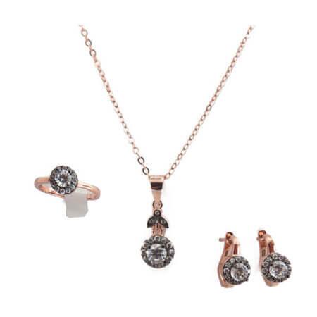 Ασημένιο Σέτ Γυναικείο 925 Ροζέτα Ροζ Χρυσό Κολιέ Δαχτυλίδι Σκουλαρίκια Ζιργκόν
