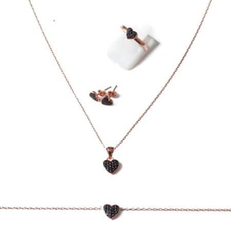 Ασημένιο Σετ Ροζ Χρυσό Κολιέ Δαχτυλίδι Σκουλαρίκι Βραχιόλι Καρδιά Μαύρες Ζιργκόν Γυναικείο 925