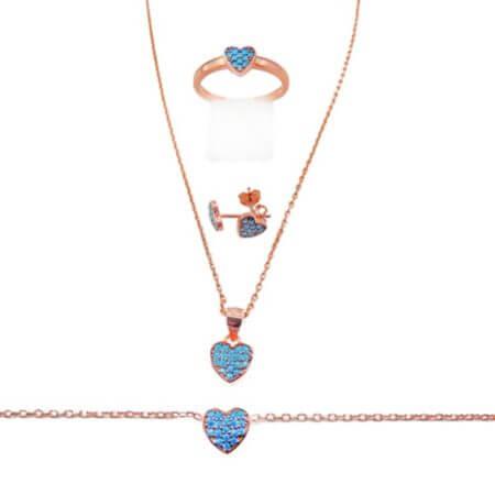 Ασημένιο Σετ Ροζ Χρυσό Κολιέ Δαχτυλίδι Σκουλαρίκι Βραχιόλι Καρδιά Τυρκουάζ Ζιργκόν Γυναικείο 925