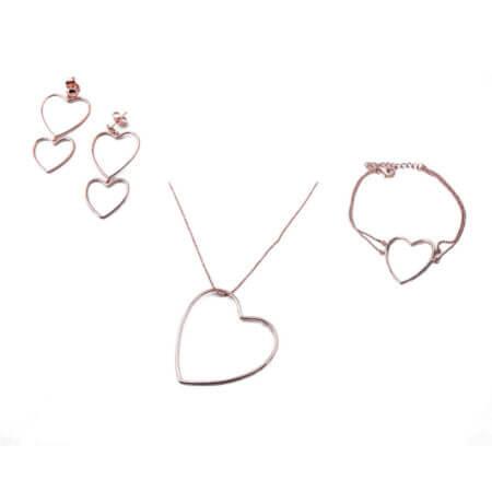 Ασημένιο Σετ Ροζ Χρυσό Κολιέ Σκουλαρίκια Βραχίολι Καρδιά Γυναικείο 925