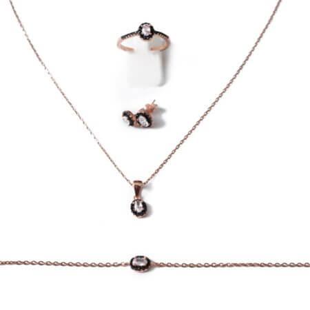 Ασημένιο Σετ Ροζέτα Ροζ Χρυσό Κολιέ Δαχτυλίδι Σκουλαρίκι Βραχιόλι Λευκές Μαύρες Ζιργκόν Γυναικείο 925