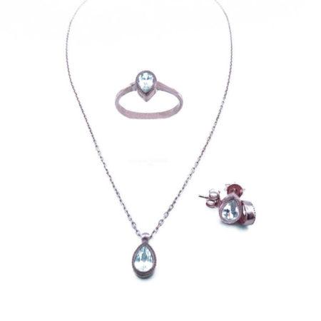 Ασημένιο Σέτ Ροζέτα Ρόζ Χρυσό Κολιέ Δαχτυλίδι Σκουλαρίκια Ζιργκόν Γυναικείο