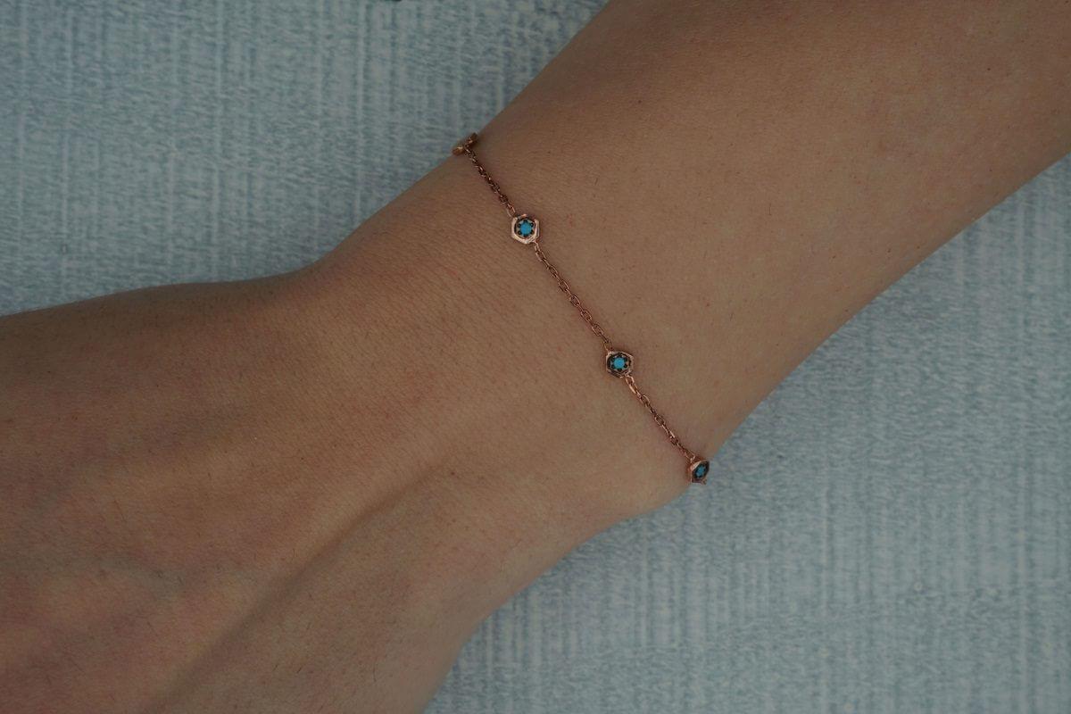 Ασημένιο Βραχιόλι Χεριού Γυναικείο Αλυσίδα Πέτρες Ροζ Χρυσό Τυρκουάζ