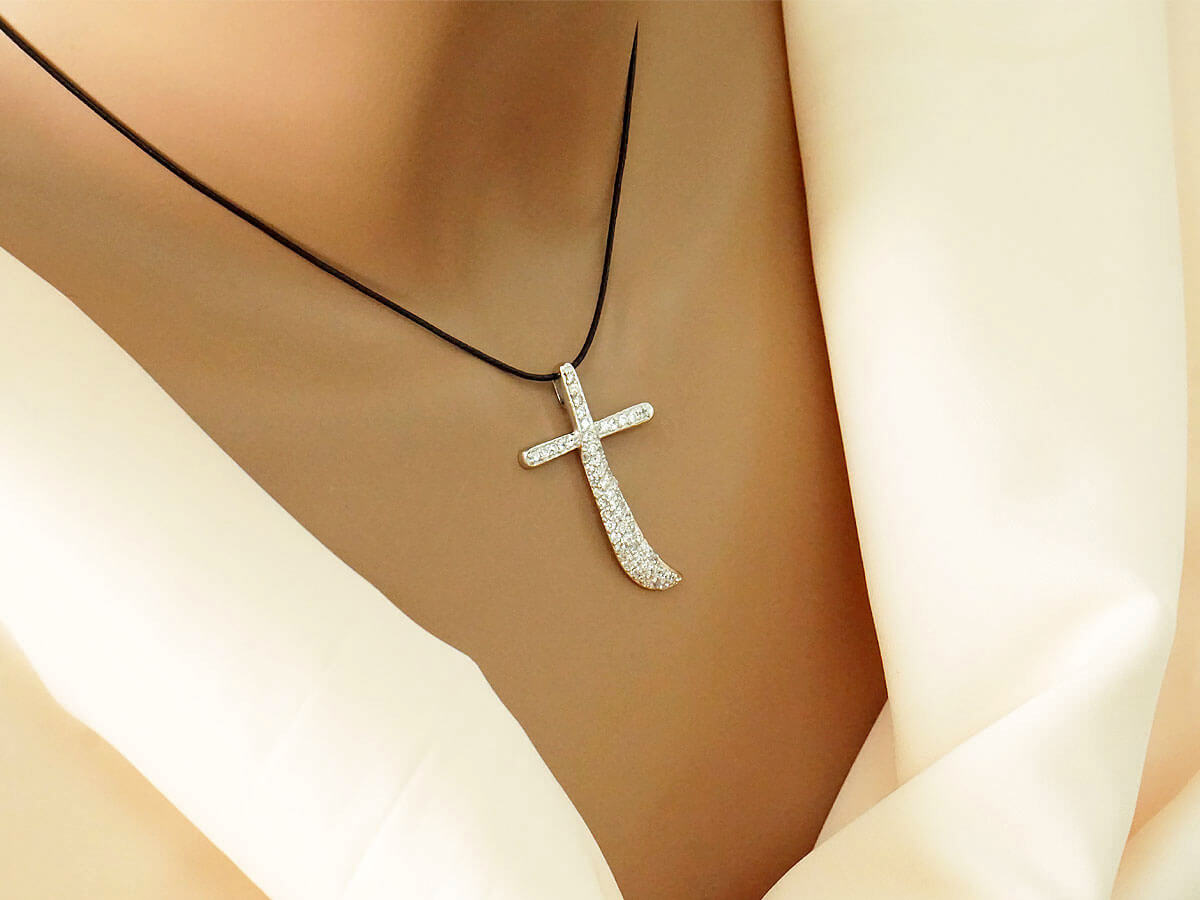 Ασημένιος Γυναικείος Σταυρός 925 Ζιργκόν Αλυσίδα