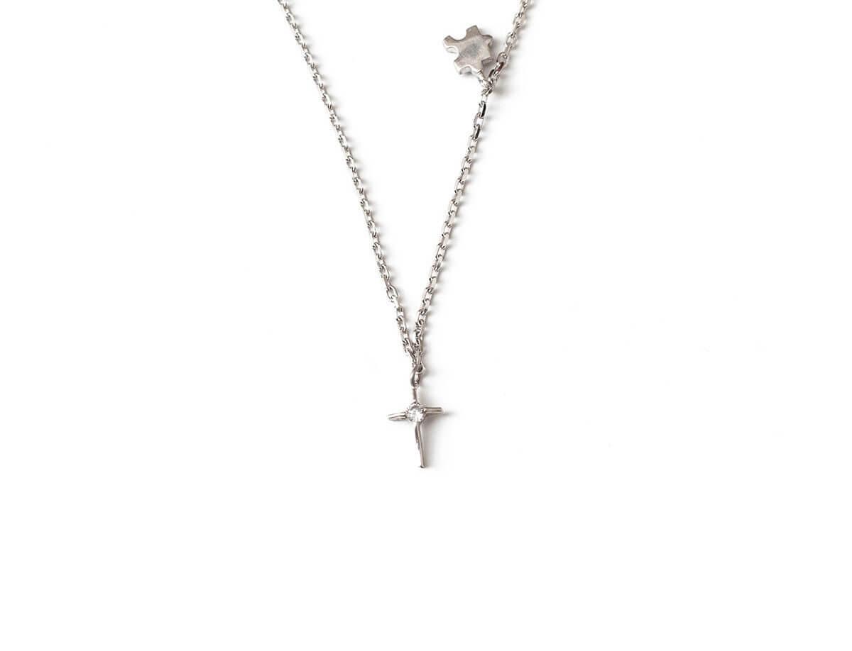 Ασημένιος Σταυρός 925 με Λευκή Πέτρα Ζιργκόν Αλυσίδα Λαιμού