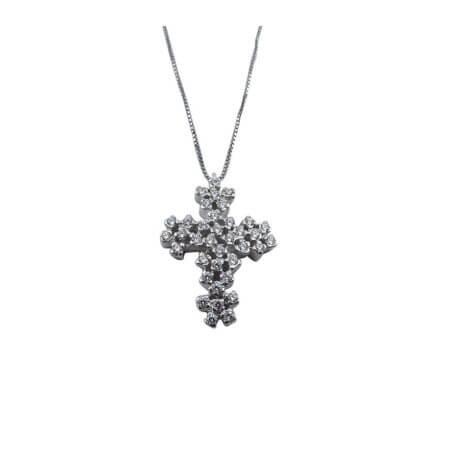 Ασημένιος Γυναικείος Σταυρός Λαιμού 925 Ζιργκόν Αλυσίδα