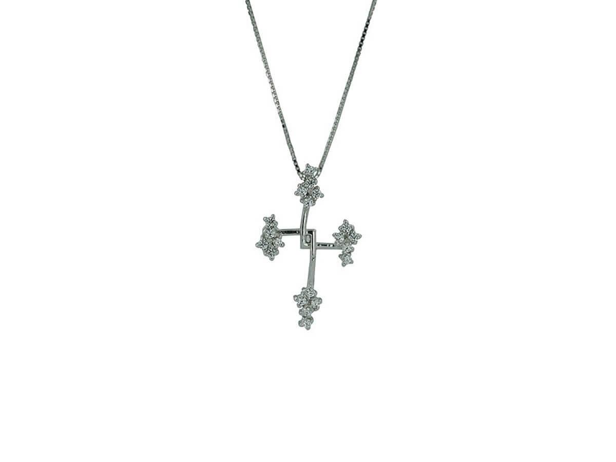 Γυναικείος Ασημένιος Σταυρός Πετράτος 925 Ζιργκόν Αλυσίδα Λαιμού