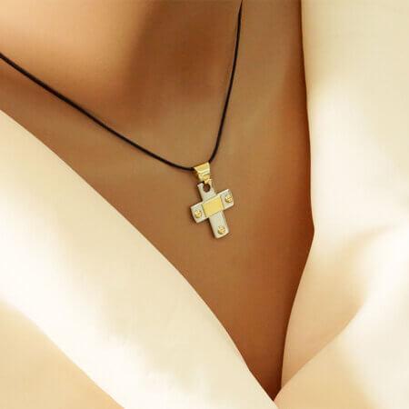 Ασημένιος Σταυρός 925 Χρυσές Λεπτομέρειες 14Κ