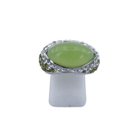 Ασημένιο Δαχτυλίδι με Πράσινη Πέτρα Γυναικείο Καμπουσόν 925 Λευκές Πέτρες Ζιργκόν