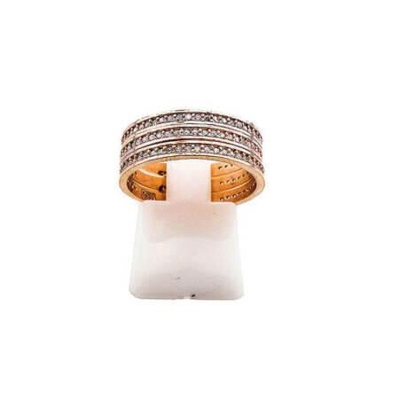 Γυναικείο Τριπλό Δαχτυλίδι Ζιργκόν Ροζ Επίχρυσο Ασήμι 925