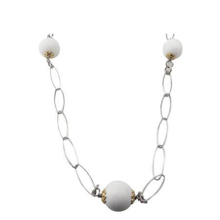 Γυναικείο Ασημένιο 925 Κολιέ με Λευκές Πέτρες