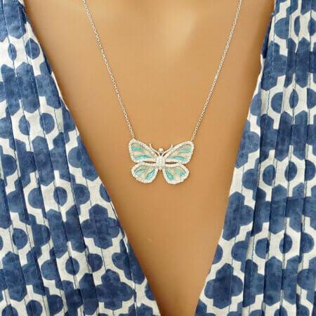 Μενταγιόν Πεταλούδα Ασημένια 925 Ασήμι Πέτρες Ζιργκόν Αλυσίδα Λαιμού Γυναικείο