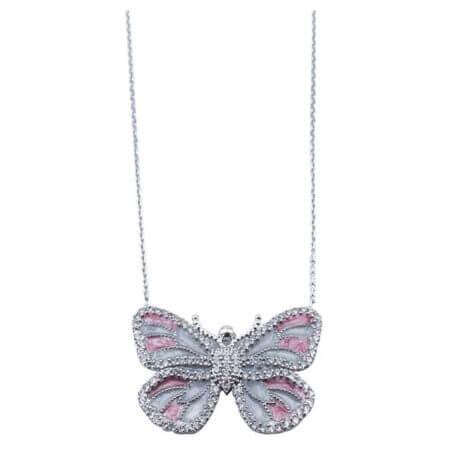 Ασημένιο Μενταγιόν Πεταλούδα Ροζ Πέτρες Ζιργκόν Ματάκια Αλυσίδα Λαιμού 925 Γυναικείο