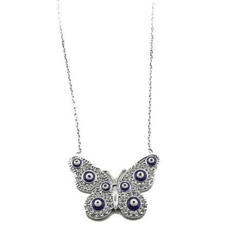 Μενταγιόν Ασημένια Πεταλούδα Ματάκια 925 Γυναικείο Λευκές Πέτρες Ζιργκόν