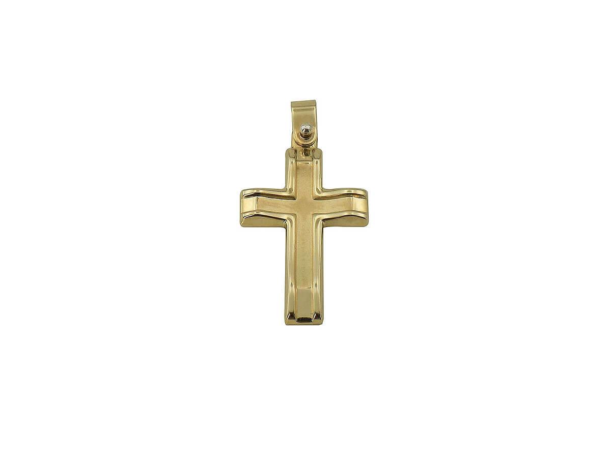 Χρυσός Σταυρός Βάπτισης 14K Καμπυλωτή Μορφή