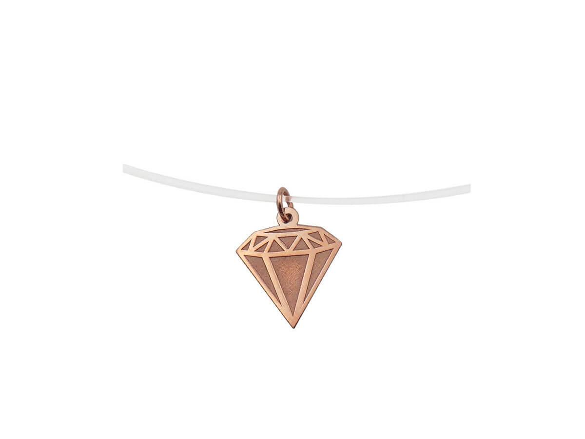 Διαμάντι Ροζ Χρυσό Μενταγιόν 14Κ Ντίζα Λαιμός