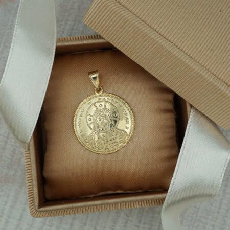 Διπλής Όψεως Χριστός Άγιοι Κωνσταντίνος Ελένη Χρυσό Μενταγιόν Γυναικείο Λαιμού