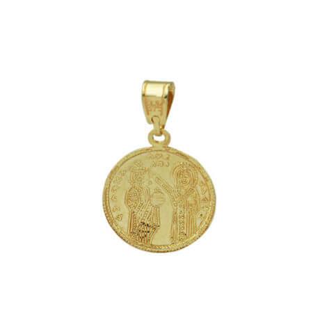 Χρυσό Κωνσταντινάτο Γυναικείο Μενταγιόν Διπλής Όψεως Λαιμού