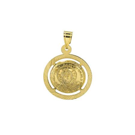 Χρυσό Κωνσταντινάτο 9Κ Διπλής Όψεως Χριστός Άγιοι Κωνσταντίνος Ελένη Γυναικείο