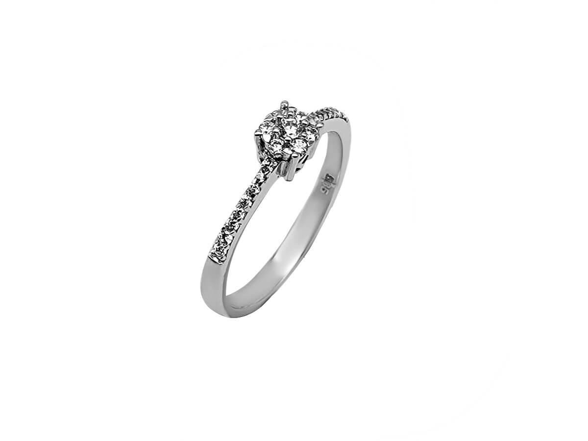 Επέτειο Γάμο Αρραβώνα Γυναικείο Λευκόχρυσο Δαχτυλίδι 14Κ Ζιργκόν πέτρες Μονόπετρο