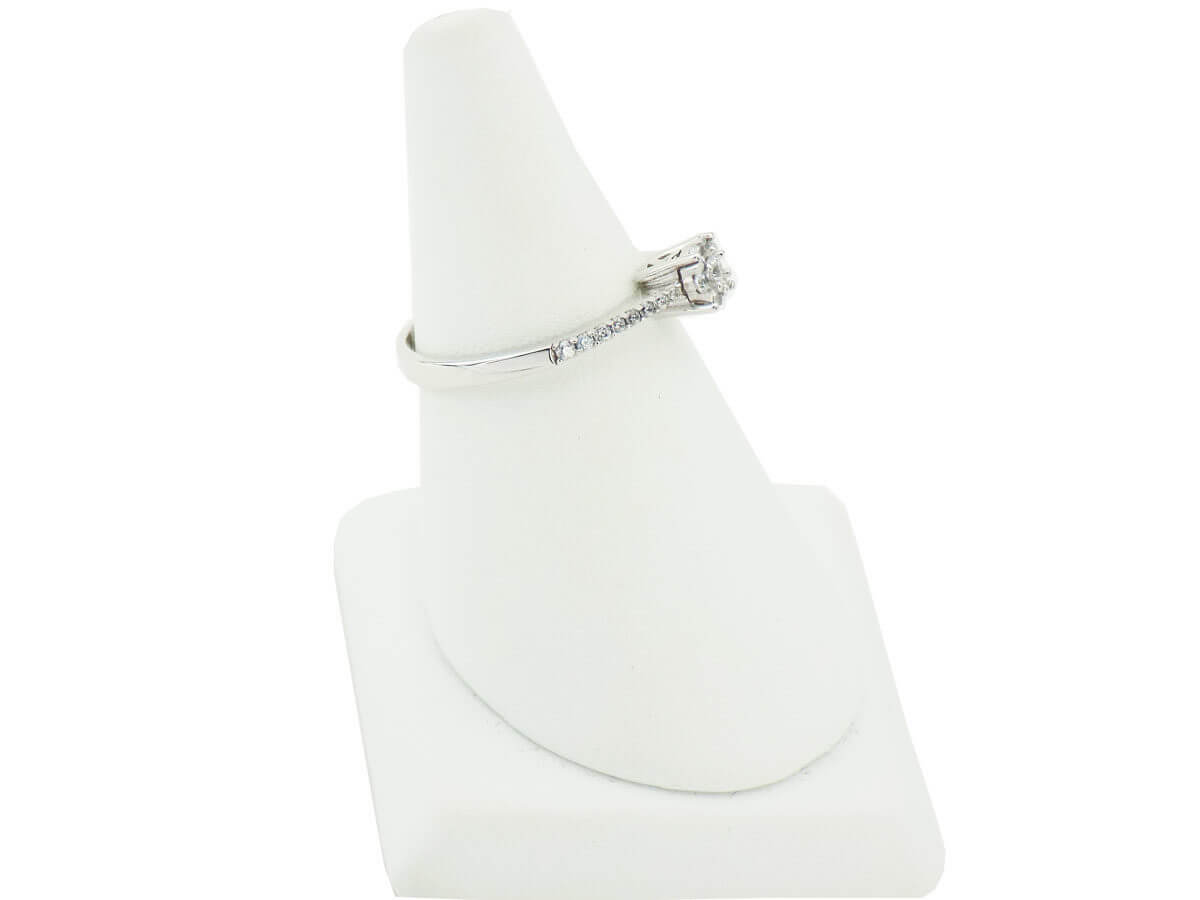 Επέτειο Γάμο Αρραβώνα Γυναικείο Μονόπετρο Δαχτυλίδι 14Κ Λευκόχρυσο Ζιργκόν Πέτρες