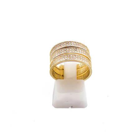Επιχρυσωμένο Δαχτυλίδι Τριπλό Ασημένιο 925 Ζιργκόν Λευκές Πέτρες Ασημί Γυναικείο