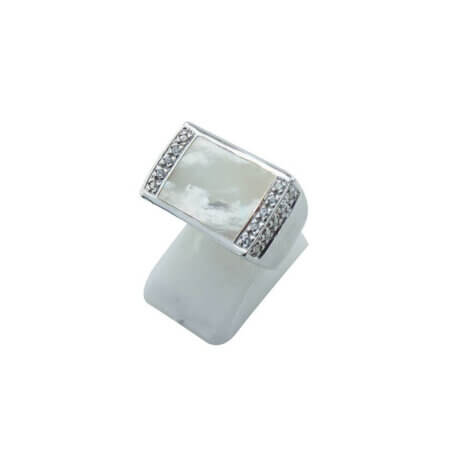 Γυναικείο Δαχτυλίδι Από Ασήμι 925 Φίλντισι Λευκές Πέτρες Ζιργκόν