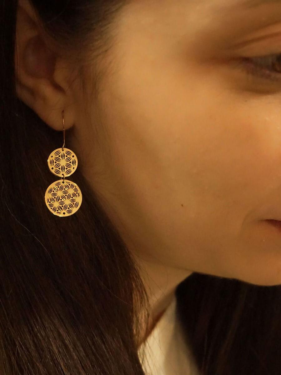 Κύκλοι Σκουλαρίκια Χρυσά 9Κ Κρεμαστά Γυναικεία