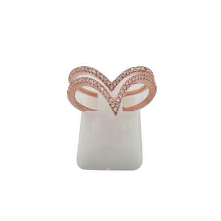 Ροζ Χρυσό Δαχτυλίδι Λευκές Ζιργκόν Πέτρες Γυναικείο Ασημένιο 925