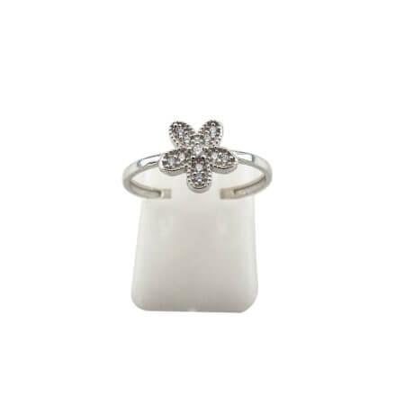 Ασημένιο Δαχτυλίδι σε Σχήμα Λουλουδιού Ζιργκόν Λευκές Πέτρες Γυναικείο 925