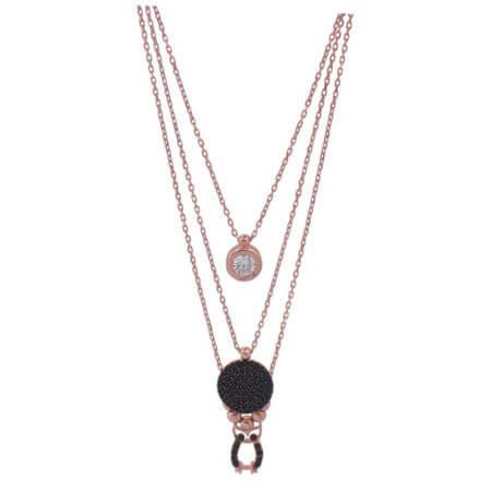 Κολιέ με Τριπλή Αλυσίδα Στόχος Κουκουβάγια Πέτρες Ζιργκόν Ροζ Επίχρυσο Μενταγιόν Λαιμού Ασημένιο 925 Γυναικείο