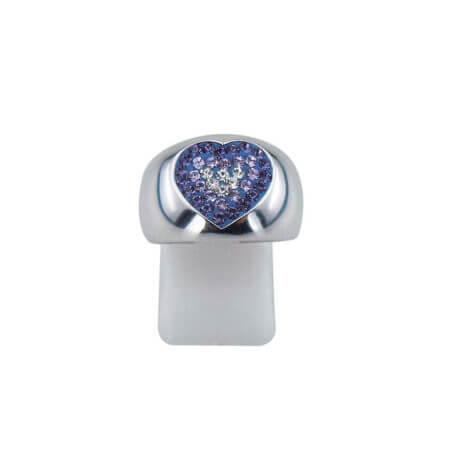 Δαχτυλίδι Καρδιά Ασημένιο 925 Ζιργκόν Λευκές Μωβ Πέτρες Γυναικείο Ασημί