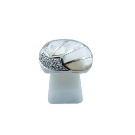 Δαχτυλίδι Ασημένιο 925 Καμπουσόν Λευκή Πέτρα Ζιργκόν Ασημί Γυναικείο