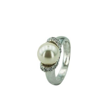 Ασημί Δαχτυλίδι Γυναικείο Μαργαριτάρι Λευκή Πέτρα Ζιργκόν Ασημένιο 925