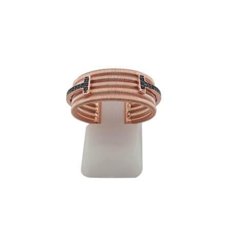 Ασημένιο Δαχτυλίδι 925 Ζιργκόν Μαύρη Πέτρα Ροζ Χρυσό Γυναικείο