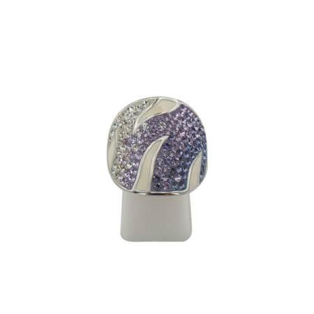 Δαχτυλίδι Ασήμι 925 με Σμάλτο Μωβ Λευκές Ζιργκόν Πέτρες Ασημένιο Γυναικείο