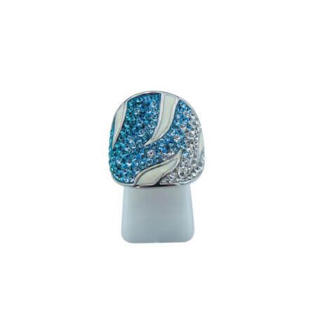 Γυναικείο Ασημένιο Δαχτυλίδι με Σμάλτο 925 Πέτρες Ζιργκόν Λευκές Τιρκουάζ