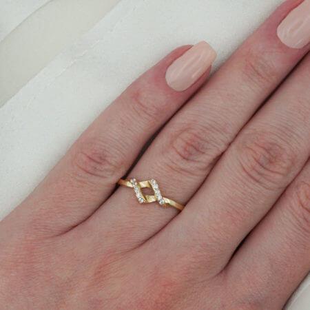 Γυναικείο Δαχτυλίδι Χρυσό 14Κ Πέτρες Ζιργκόν