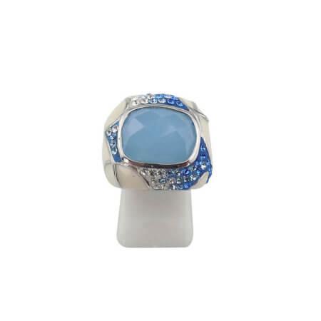 Γυναικείο Δαχτυλίδι Με Γαλάζια Πέτρα Καμπουσόν Ασήμι 925 Πέτρες Ζιργκόν Σμάλτο