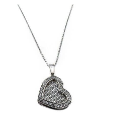 Γυναικείο Μενταγιόν Λαιμού Αλυσίδα Ασημί Καρδιά Ασημένιο 925 Ζιργκόν Πέτρες Λευκές