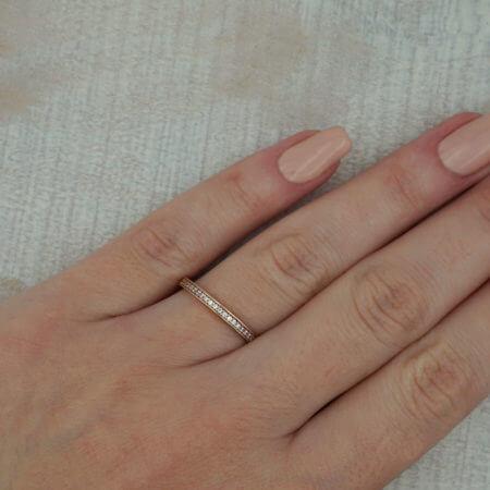 Γυναικείο Ροζ Χρυσό Δαχτυλίδι Μισόβερο 14κ